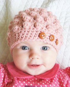 PDF Crochet Pattern : Baby girl crochet hat pattern for bumpy hat via Etsy Baby Girl Crochet, Crochet Baby Hats, Baby Knitting, Knitted Hats, Crochet Cap, Love Crochet, Crochet For Kids, Bobble Crochet, Blanket Crochet