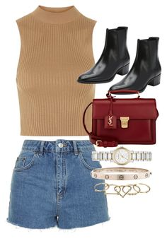 """Untitled #1413"" by ilovepie402 ❤ liked on Polyvore featuring Topshop, Yves Saint Laurent, Burberry, Cartier and Zimmermann"
