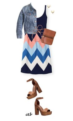 """Zig Zag Dress"" by coombsie24 ❤ liked on Polyvore featuring Boden, J.Crew, Leslie Danzis, Carvela and vintage"