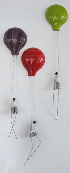Green Parachute Figurine Ceramic Porcelain 3D Wall Art - Handmade with love from Greece