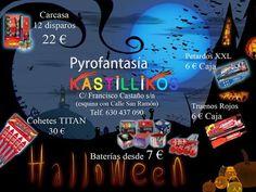 """Kastillikos Pyrofantasia , tu tienda de pirotécnia en Yecla  te ha preparado unas """"espeluznantes """" ofertas para tu fiesta de Halloween , ven y elige ilusiones para los peques,baterías, petardos, cohetes !!!"""