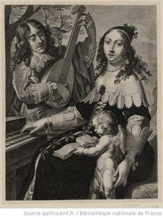 L'ouie. Une femme assise touche du clavecin . J. Falk