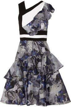 Prabal Gurung Ruffled printed silk-organza and crepe dress | THE OUTNET
