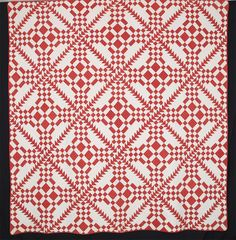 Red and White Burgoyne Surrounded with Flying Geese.  c.1855.  78 x 83 inches.