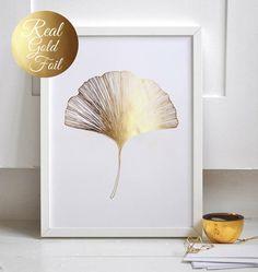 Ginkgo Leaf Print, Ginko Leaf Print, Wall Decor, Minimal Wall Art, Gold Foil…