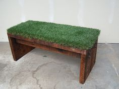 Recycled Wood and Astro-turf Bench...say wha..... $249.00, via Etsy.