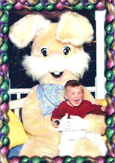Scary Easter Bunny photos make me laugh and cry. I hate the easter bunny too kid! IT GETS BETTER.