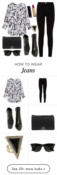 """""""Untitled #1420"""" by littledeath11 on Polyvore featuring Melissa McCarthy Seven7, 7 For All Mankind, Chanel, Very Volatile, Ray-Ban, House of Harlow 1960 and plus size clothing"""