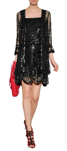 A statement-making choice for after dark, this sequined dress from Anna Sui features flapper-inspired styling #Stylebop