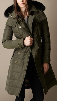 Down-Filled Coat with Fur Trim | Burberry