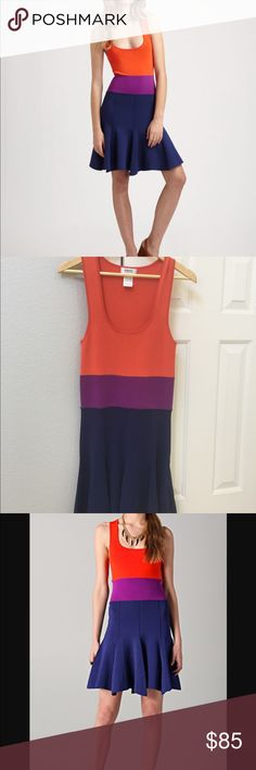 """Sonia by Sonia Rykiel dress Vibrant, body-con, colorblock tank dress has a low scoop neck, fitted bodice, inside out seams and a flared skirt. Top is bright orange, middle section is plum colored and the skirt is navy blue. Straps are 2"""" and length from shoulders is 35"""" Dresses"""
