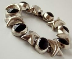 Taxco Mexican Silver Onyx Bracelet by TheButterflyBoxdeitz on Etsy, $110.00