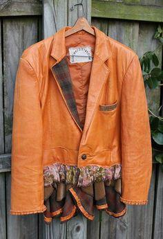 photos+of+upcycled+jackets | JACKET upcycled Leather Jacket Blazer Coat X Large Refashioned ...