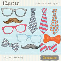 New to ClementineDigitals on Etsy: Hipster clip art images moustache clip art tie clip art royalty free clip art- Instant Download (5.00 USD)