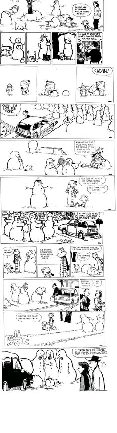 Winter with Calvin and Hobbes. I think Calvin has a proper balance of slapstick and dark humor, lol Calvin And Hobbes Comics, Calvin And Hobbes Snowmen, Bd Comics, Funny Comics, Beste Comics, Humor Grafico, Classic Cartoons, Hobbs, Just For Laughs