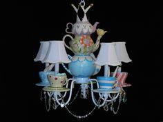 Whimsical Alice In Wonderland Mad Hatter Tea Party Chandelier. $425.00, via Etsy.