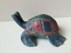 """Hand Carved Hand Painted Wooden Turtle Tortoise 8"""""""