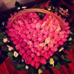Roses in a basket.