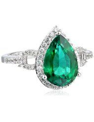 25%off Latest Fashion Trends: 10kt White Gold Pear Shape Created Emerald with Round Created White Sapphire and White Diamond Ring, Size 7