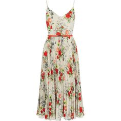 FLORAL MIDI DRESS (140 AUD) ❤ liked on Polyvore featuring dresses, floral pattern dress, strappy dress, floral printed dress, floral-print dresses and calf length dresses