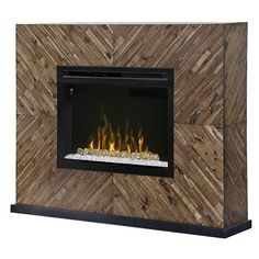 Harris Mantel Fireplace with Glass Insert