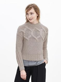 Cable-Knit Cropped Sweater Pullover | Banana Republic