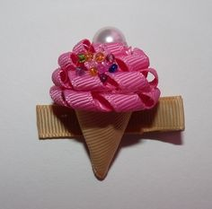 Ice Cream Cone - Hot Pink with Beads