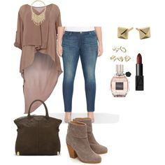 A fashion look from December 2014 featuring plus size tops, blue jeans and leather boots. Browse and shop related looks.
