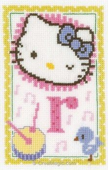 Broderie en point croix hello kitty lettre r - Vervaco