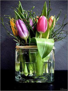 Tulpaner med blåbärsris Tulpaner och blåbärsris gifter sig alldeles utmärkt. Det spretiga riset mot de mjuka tulpanerna blir en fin kombination som andas vår!