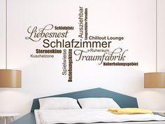 Wandtattoo Schlafzimmer Wortwolke aus verschiedenen originellen Begriffe, die man mit einem Schlafzimmer verbinden kann.