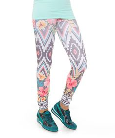 This Fornia White & Pink Tropical Leggings by Fornia is perfect! #zulilyfinds