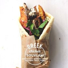 Greek Chicken Souvlaki stuffed with feta fries? File this under delicious / oh hell yes.