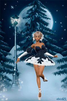 Танцующая снежынка - анимация на телефон №1358909