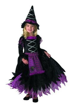 Includes: Dress with apron, hat. Not included: Shoes.  She is the witch that every girl dreams of. She is beautiful and elegant, she is the one and only Fairytale Witch. This costume is cute and fashionable, but still is classic Halloween. The full dress with cat graphic and matching hat is perfect for you little girl and she will just love being the Fairytale witch she always wanted to be. Includes: Full-skirted dress with attached apron and matching hat.