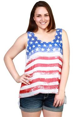 plus size american flag screen print tank with ab stones