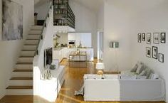 Detailed information block on modern home decorations. Minimal Design, Minimalism, Stairs, Loft, Room Decor, Bed, Modern, Furniture, Decor Ideas