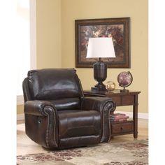 Brown Leather Swivel Glider Recliner by Ashley Furniture   Swivel Rocker Recliner Leather
