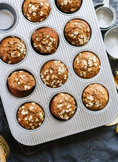 Healthy banana muffins! They're easy to make and good for you, too. cookieandkate.com