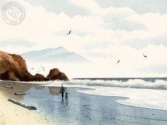 Walk on the Beach #watercolorarts