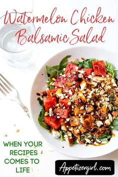 A perfect combination of savory, freshness, crunch, creaminess, sweet. Makes my heart go wild. The color, yummy taste, such a pretty salad, with an easy to follow and simple instruction. It's your time to try this salad recipe for good. I'm certain that you'll love it as much as I did. Watermelon Chicken Balsamic Salad – Appetizer Girl Easy Summer Meals, Summer Recipes, Summer Salads, Watermelon Chicken, Fresco, Lemon Garlic Pasta, Caprese Pasta Salad, Asparagus Salad, Beet Hummus