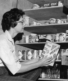 Spam in the Fallout Shelter pantry, c.1950's