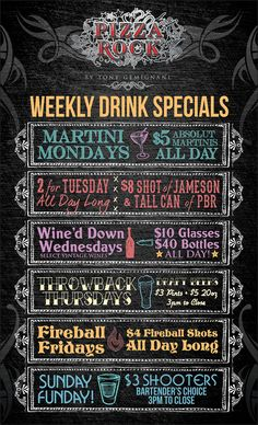This is a poster that was designed for Pizza Rock. It is Their weekly drink specials. Chalk Menu, Chalkboard Bar, Chalkboard Designs, Restaurant Menu Design, Restaurant Signs, Drink Specials, Drink Menu, Bar Drinks, Restaurant Specials
