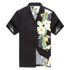 Made in Hawaii Men's Hawaiian Shirt Aloha Side Floral Bird of Paradise Black