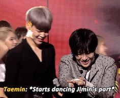 Jiminie must be feeling so honoured to have dancing legend Taemin congratulate him this way