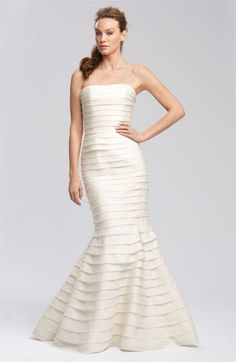 Carmen Marc Valvo Satin Face Tiered Organza Gown #wedding