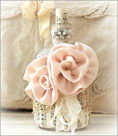 vintage altered bottle with pink roses