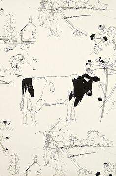 Countryside Toile Wallpaper A lovely cream wallpaper with ink illustrations of cows and other bucolic scenes in black.