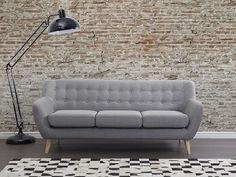 Bank lichtgrijs, sofa, gestoffeerde bank, designbank, MOTALA
