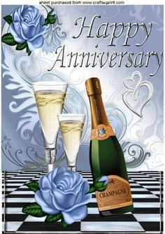 CHAMPAGNE FOR AN ANNIVERSARY WITH BLUE ROSES A4 on Craftsuprint designed by Nick Bowley - CHAMPAGNE FOR AN ANNIVERSARY WITH BLUE ROSES, AND RINGS, A4 Makes a lovely card, lots of other designs to see, Also can be seen in A5 - Now available for download!